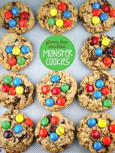 Zucchini Monster Cookies with Peanut Butter and M&Ms (gluten free)
