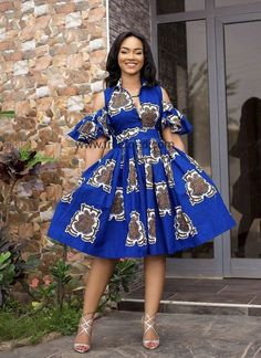 Items similar to Blue African Ankara midi dress cold shoulder dress midi dress gathered dress short dress African American Fashion, African Fashion Ankara, Latest African Fashion Dresses, African Print Fashion, Africa Fashion, Ankara Short Gown Styles, Short Gowns, Ankara Gowns, African Wear Dresses