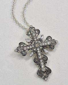 New Cross Necklace Victorian style ornate clear RHINESTONES religious jewelry
