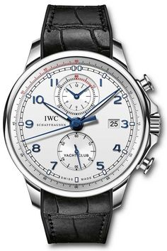 IWC Portuguese Yacht Club Chronograph Ocean Racer Lux Watches, Watches For Men, Iwc Chronograph, The World Race, Iwc Pilot, Volvo Ocean Race, Black Leather Watch, Yacht Club, Stainless Steel Case