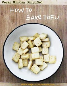 How to bake tofu for stir-fries, soups, etc., using very little to no oil. Tofu comes out much lower in fat than if it was fried!