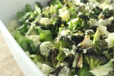 Escarole and Roasted Broccoli Salad with Anchovy Dressing #SundaySupper
