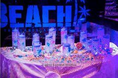 Beach Theme Bar & Bat Mitzvah Candle Lighting Display at The Sands at Atlantic Beach - mazelmoments.com