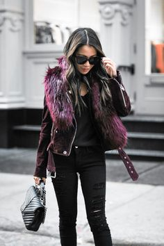 Double Burgundy :: Faux fur jacket