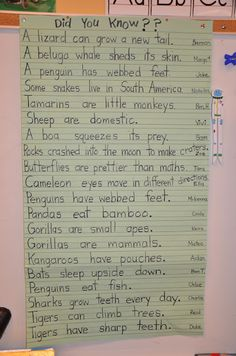 Did you know? Good post on writing about facts - great class book