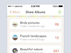 Share albums by Alexandre Naud Picture Folder, Ios 7, App Ui Design, Mobile Design, User Experience, User Interface, Albums, Design Inspiration, Mobile Ui