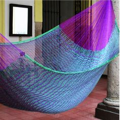 Novica Caribbean Jungle Outdoor Garden Patio Pool Purple and Green Stripe Handmade Knotted Rope Style Nylon Double Hammock (Mexico) (Royal Pheasant Large Deluxe Hammock with Accessories (Mexico)) #104110, Patio Furniture Hanging Rope, Hammocks, Rope Hammock, Hammock Swing, Mayan Hammock, Outdoor Furniture, Outdoor Decor, Outdoor Ideas, Double Hammock
