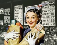 Happy Housewife Shopper! ~ ca. 1940s
