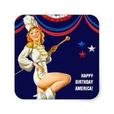 Happy Birthday, America. Independence Day, 4th of July Stickers with a vintage pin-up girl magazine illustration. Artist : Al Buell . Matching cards and products available in the Holidays / 4th of July Category of the oldandclassic store at zazzle.com