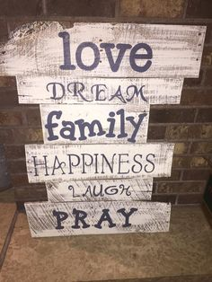 Reclaimed pallet art made by Jess's Junk these can be customized to say anything and be in any color to order head over to http://www.facebook.com/jessicajosjunk