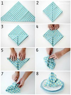 Awesome DIY Napkin Folding Tutorial Ideas 9 – Oh, les rues de France! Paper Napkin Folding, Paper Napkins, Folding Napkins, How To Fold Napkins, Simple Napkin Folding, Wedding Napkin Folding, Napkin Origami, Christmas Napkin Folding, Christmas Napkins