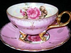 ROYAL SEALY 3 Footed PINK IRIDESCENT PINK ROSE TEA CUP & SAUCER GILDED
