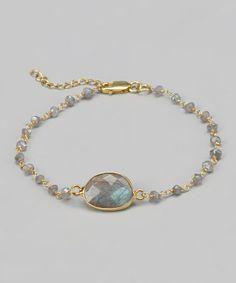 Gold & Labradorite Stone Bracelet