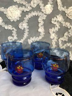 Mid-Century Czech Crystal Royal Blue Glasses by LaSuzanaMaison
