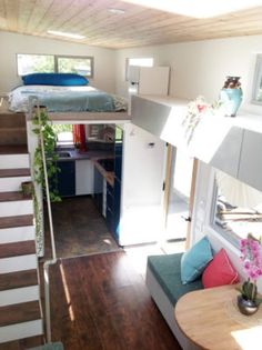 This is a 340 square tiny home on wheelsfor sale by dreambuilders.pro.