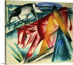 Cubist style water color on paper
