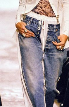 Jean Paul Gaultier ss94, these pants are just right for 2015! link to the denim part of this collection on youtube https://www.youtube.com/watch?v=9UopnAa_Yjw
