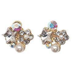 Clip On Earrings, Women's Earrings, Diamond Earrings, Pearl White, Swarovski Crystals, Long Hours, Pearls, Elegant, Purple