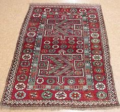 4 x 5 Antique Persian Kurdish Tribal Hand Knotted Wool Reds Blues Oriental Rug