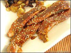 Aiguillettes de canard marinées au soja, curry et caramélisées au miel