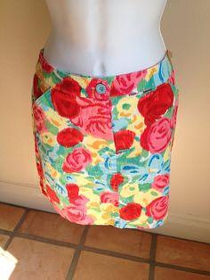 Talbots Petite 10 Medium Skirt Pockets Floral Cotton Stretch #Talbots #StraightPencil