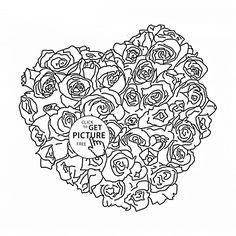Beautiful Roses and Heart coloring page for kids flower coloring