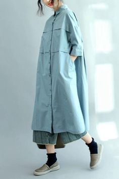 Blue Long Cotton Shirts for Women 3 4 Sleeve Loose Shirt Modest Fashion, Hijab Fashion, Korean Fashion, Fashion Dresses, Casual Hijab Outfit, Casual Dresses, Loose Shirts, Cotton Shirts, Sweater Shirt