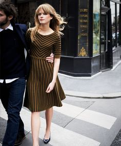 Mustard Brown & Navy dress