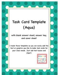 18 Free Task Card Templates Ideas Card Templates Task Cards Task