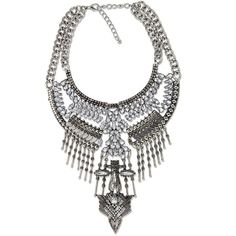 Gorgeous crystal and metal bib necklace with eye catching details. Makes a great stand alone statement necklace or go big and layer with our other boho style necklaces. Looks chic with a t-shirt, jean