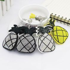 Bling mosaic pineapple keychain with tassels 4colors
