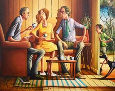 """This is an original Max Mannix painting. Signed by Max in the lower left corner and named """"A Bush Christening What the devil and all is the christening"""". Australian Artists, Paintings For Sale, Christening, Murals, New Zealand, Devil, Studios, Beautiful Places, Corner"""