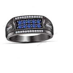 1.00Ct Sapphire & Sim Diamond Wedding Band Ring 14k Black Gold Finish 925 Silver #aonedesigns #MensWeddingBandRing