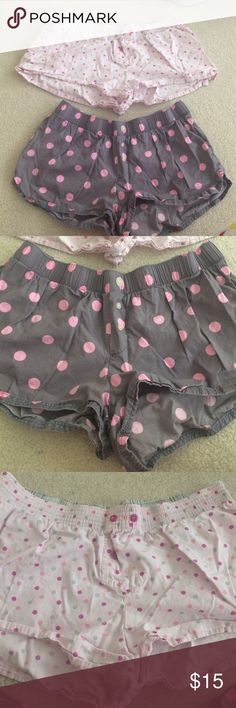 Pajama shorts set Both slightly used but still good condition - too is small, bottom is medium. Top is light pink, bottoms are grey with pink dots GAP body Intimates & Sleepwear Pajamas