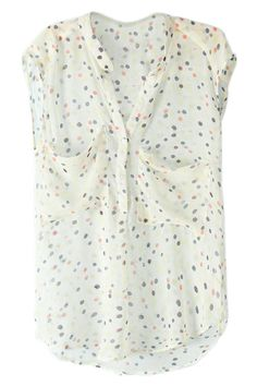ROMWE | Sleeveless Polka Dots Print White Blouse, The Latest Street Fashion