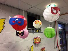 Superhero writing area in a 3-4 year School nursery