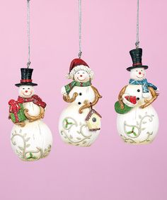 Another great find on #zulily! Delicate Snowman Ornament Set #zulilyfinds