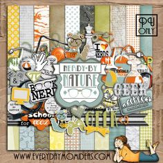 Nerdy By Nature freebie full kit from Everyday Mom Ideas #digiscrap #scrapbooking