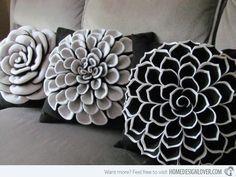 felt flower patterns | 20 Zestful Decorative Throw Pillows | Home Design Lover