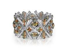 Lance Fischer's 18-karat white gold bracelet features 91.30 carats of zultanite and 5.82 carats of diamonds