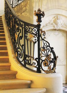 ♔ Detail stair balustrade 1751, house in Faubourg St. Germain. Book ~ 'French Interiors of the 18th century' ~ by John Whitehead