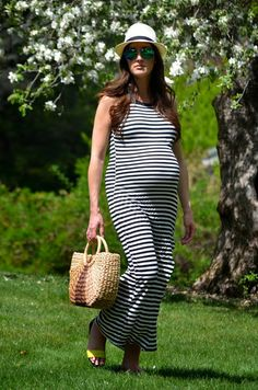 striped maxi dress #maternitystyle #pregnancystyle #bumpstyle #thirdtrimester