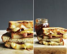 Bacon, pear and fig panini
