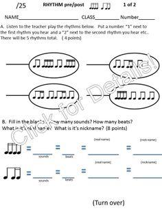 Elementary Music Assessment #3: Grade 3-4 {low la, low sol}{tika ...