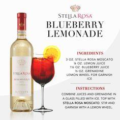 Stella Rosa original recipe: Stella Rosa Blueberry Lemonade, with Stella Rosa Moscato.  Video instructions: http://www.youtube.com/watch?v=_tutwDvFqI4