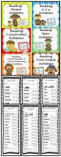 This bundle contains six units that give specific word examples of each syllable. - Real Time - Diet, Exercise, Fitness, Finance You for Healthy articles ideas Kindergarten Reading Activities, Reading Resources, Reading Strategies, Kindergarten Teachers, Classroom Resources, Reading Skills, Teaching Reading, Learning, Vowel Digraphs