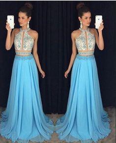 Lace Appliques Prom Dresses,A-line Prom Dresses,Blue Prom Dresses,Charming 2017 Prom Dresses,Floor Length Prom Dress,PD00485