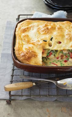Gram's Chicken Pot Pie Updated — Pot pie is a winter classic, and a family favorite for times when everyone gets together to reconnect. Our version is made special with the puff pastry topper. It's easy to do, and takes the dish to a whole new level.