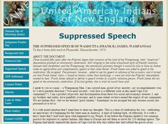 THE SUPPRESSED SPEECH OF WAMSUTTA (FRANK B.) JAMES, WAMPANOAG  To have been delivered at Plymouth, Massachusetts, 1970 Plymouth Massachusetts, Day Of Mourning, Political Prisoners, The Freedom, American Indians, New England, Stuff To Do, Homeschooling, Thanksgiving