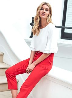 Womens Red Circle Ring Tapered Trousers- Red